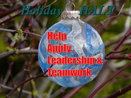 Holiday HALT. 2 Help by Applying Leadership and Teamwork This Holiday Season   As winter holidays approach, serious incidents tend to increase.  