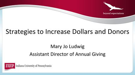 Strategies to Increase Dollars and Donors Mary Jo Ludwig Assistant Director of Annual Giving.