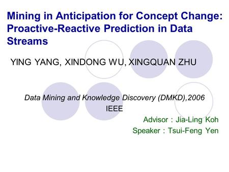 Mining in Anticipation for Concept Change: Proactive-Reactive Prediction in Data Streams YING YANG, XINDONG WU, XINGQUAN ZHU Data Mining and Knowledge.