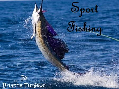 "Sport Fishing By Brianna Turgeon. What is Sport Fishing?  ""Fishing by any means for recreational purposes,"" (source 25)."