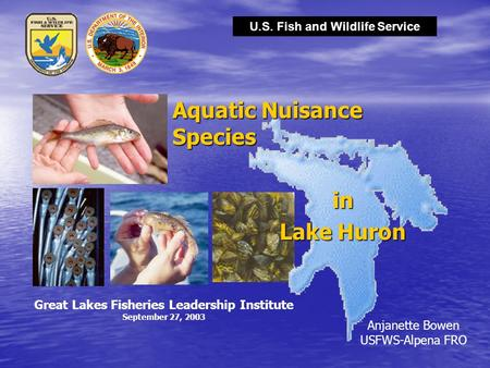 U.S. Fish and Wildlife Service Anjanette Bowen USFWS-Alpena FRO Aquatic Nuisance Species in Lake Huron Great Lakes Fisheries Leadership Institute September.