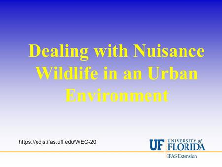Dealing with Nuisance Wildlife in an Urban Environment https://edis.ifas.ufl.edu/WEC-20.