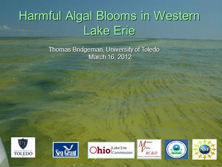 Harmful Algal Blooms in Western Lake Erie homas Bridgeman, University of Toledo Thomas Bridgeman, University of Toledo March 16, 2012.