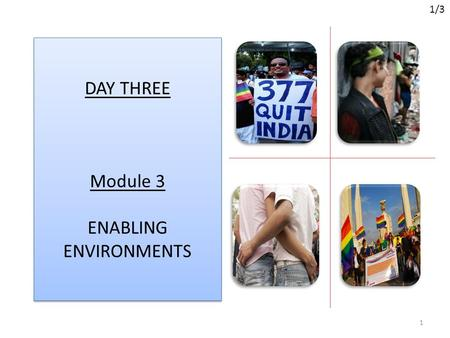 DAY THREE Module 3 ENABLING ENVIRONMENTS 1 1/3. Overview of Module 3 Terms and definitions Introducing the 2011 Global MSM and TG Guidelines. Exploring.