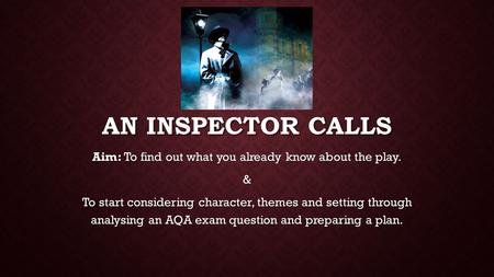 AN INSPECTOR CALLS Aim: To find out what you already know about the play. & To start considering character, themes and setting through analysing an AQA.