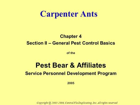 Carpenter Ants Chapter 4 Section II – General Pest Control Basics of the Pest Bear & Affiliates Service Personnel Development Program 2005