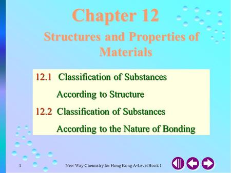 New Way Chemistry for Hong Kong A-Level Book 11 Chapter 12 Structures and Properties of Materials 12.1Classification of Substances According to Structure.