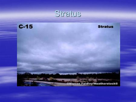 Stratus. Outline  Formation –Moisture trapped under inversion –Contact layer heating of fog –Fog induced stratus –Lake effect stratus/strato cu  Dissipation.