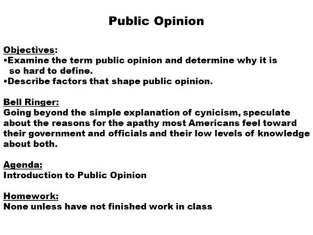 public opinion and political socialization essay
