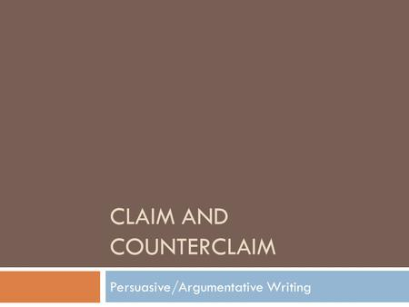 Claim and Counterclaim