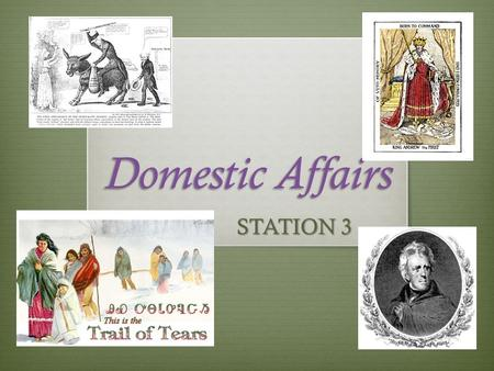 Domestic Affairs STATION 3. Jackson rules his own way, not all good!  Election of 1828- Electorate now includes tax payers.  Jackson wins in a landslide.