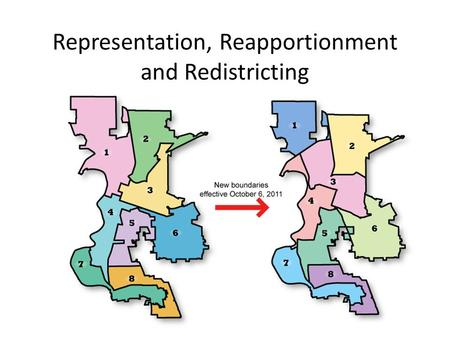 Representation, Reapportionment and Redistricting.