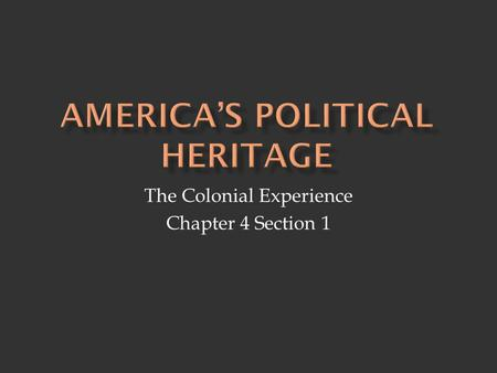 America's Political heritage