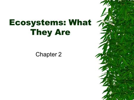 Ecosystems: What They Are Chapter 2. 2.1 Ecosystems: A Description.