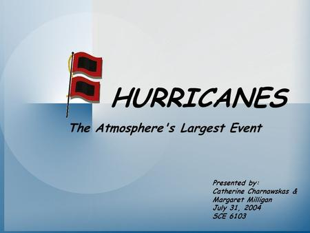 HURRICANES Presented by: Catherine Charnawskas & Margaret Milligan July 31, 2004 SCE 6103 The Atmosphere's Largest Event.