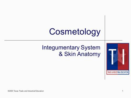 ©2005 Texas Trade and Industrial Education1 Cosmetology Integumentary System & Skin Anatomy.