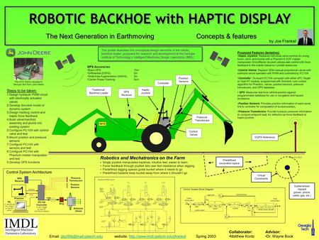 """Traditional"" Backhoe Loader Haptic Joystick GPS Receiver Controller Control Valves Position Sensors Concepts & features 4410 Subterranean Hazard (power,"