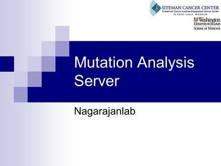 Mutation Analysis Server Nagarajanlab. © Copyright 2005, Washington University School of Medicine. 2 Agenda Mutation pipeline overview High level design.