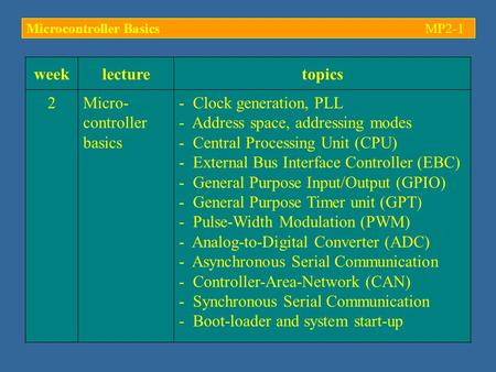 Weeklecturetopics 2Micro- controller basics - Clock generation, PLL - Address space, addressing modes - Central Processing Unit (CPU) - External Bus Interface.