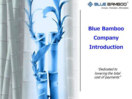 "Blue Bamboo Company Introduction Simple. Reliable. Affordable ""Dedicated to lowering the total cost of payments"""