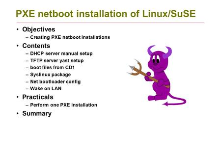 PXE netboot installation of Linux/SuSE