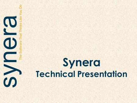 Synera The Software That Thinks Like You Do Synera Technical Presentation.
