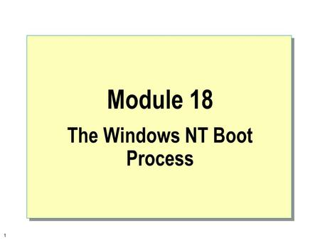 1 Module 18 The Windows NT Boot Process. 2  Overview Overview of the Windows NT Boot Process Troubleshooting the Boot Process Last Known Good Configuration.