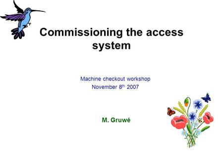 Commissioning the access system M. Gruwé Machine checkout workshop November 8 th 2007.