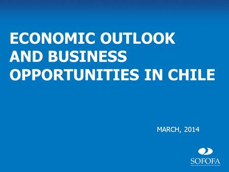 MARCH, 2014 ECONOMIC OUTLOOK AND BUSINESS OPPORTUNITIES IN CHILE.