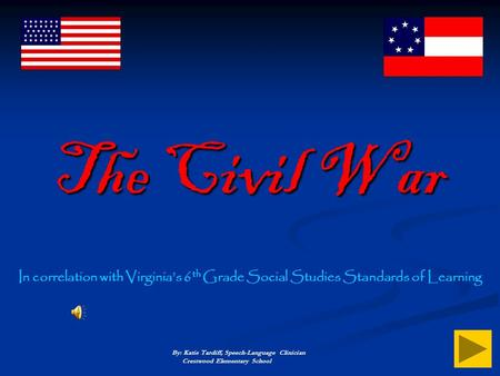 The Civil War In correlation with Virginia's 6th Grade Social Studies Standards of Learning By: Katie Tardiff, Speech-Language Clinician Crestwood.