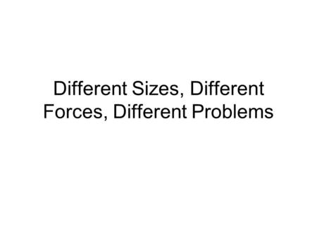 Different Sizes, Different Forces, Different Problems.