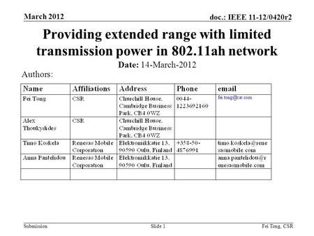 Submission doc.: IEEE 11-12/0420r2 March 2012 Fei Tong, CSRSlide 1 Providing extended range with limited transmission power in 802.11ah network Date: 14-March-2012.