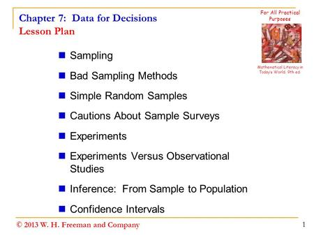 Chapter 7: Data for Decisions Lesson Plan