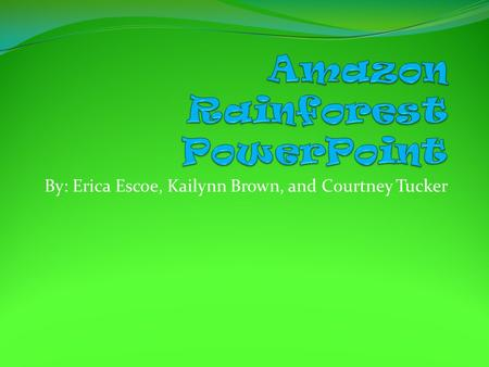 By: Erica Escoe, Kailynn Brown, and Courtney Tucker.