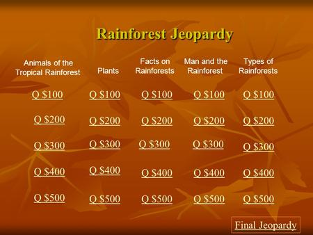 Rainforest Jeopardy Rainforest Jeopardy Animals of the Tropical Rainforest Facts on Rainforests Man and the Rainforest Types of Rainforests Q $100 Q $200.