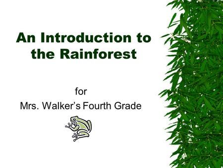 An Introduction to the Rainforest for Mrs. Walker's Fourth Grade.