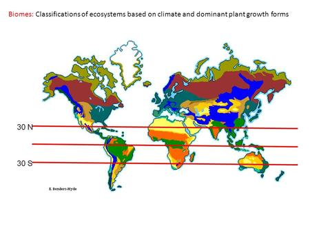 Biomes: Classifications of ecosystems based on climate and dominant plant growth forms.