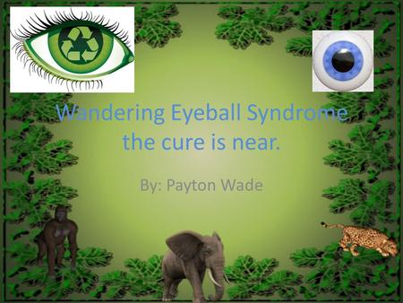 Wandering Eyeball Syndrome the cure is near. By: Payton Wade.
