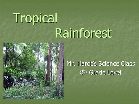 Tropical Rainforest Mr. Hardt's Science Class 8 th <strong>Grade</strong> Level.