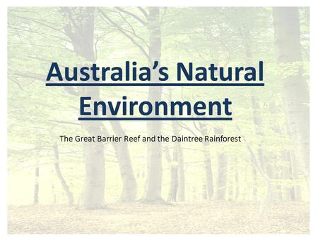 Australia's Natural Environment The Great Barrier Reef and the Daintree Rainforest.