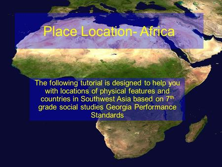 Place Location- Africa