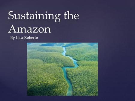 "{ Sustaining the Amazon By Lisa Roberto. ""Forests are a safety net for the poor, but they continue to disappear at an alarming rate.""- UN Millennial Goals."