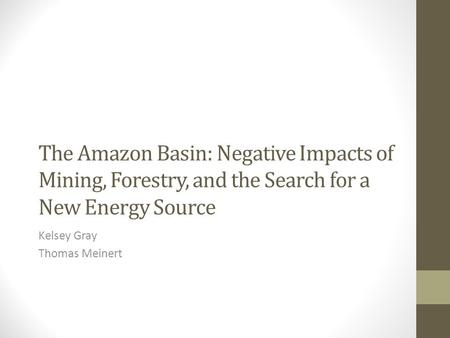 The Amazon Basin: Negative Impacts of Mining, Forestry, and the Search for a New Energy Source Kelsey Gray Thomas Meinert.