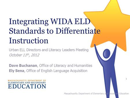 Integrating WIDA ELD Standards to Differentiate Instruction Urban ELL Directors and Literacy Leaders Meeting October 11 th, 2012 Dave Buchanan, Office.