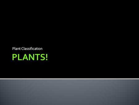 Plant Classification PLANTS!.