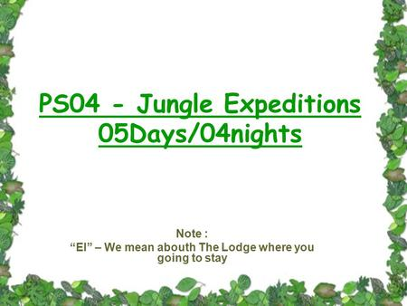 "PS04 - Jungle Expeditions 05Days/04nights Note : ""EI"" – We mean abouth The Lodge where you going to stay."