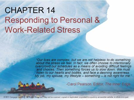 "CHAPTER 14 Responding to Personal & Work-Related Stress ""Our lives are complex, but we are not helpless to do something about the stress we feel. In fact,"