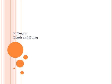 Epilogue: Death and Dying. T HANATOLOGY Thanatology The study of death and dying.