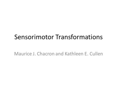 Sensorimotor Transformations Maurice J. Chacron and Kathleen E. Cullen.