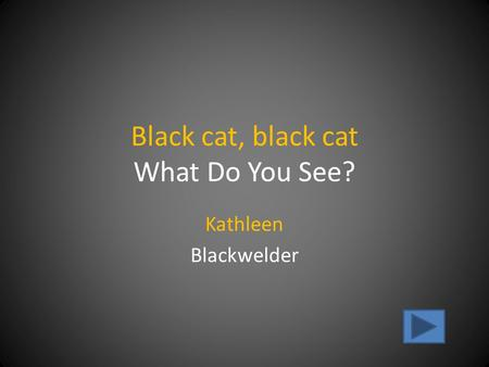 Black cat, black cat What Do You See? Kathleen Blackwelder.